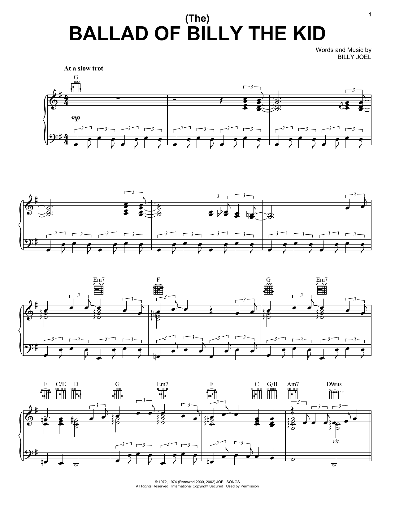(The) Ballad Of Billy The Kid Sheet Music