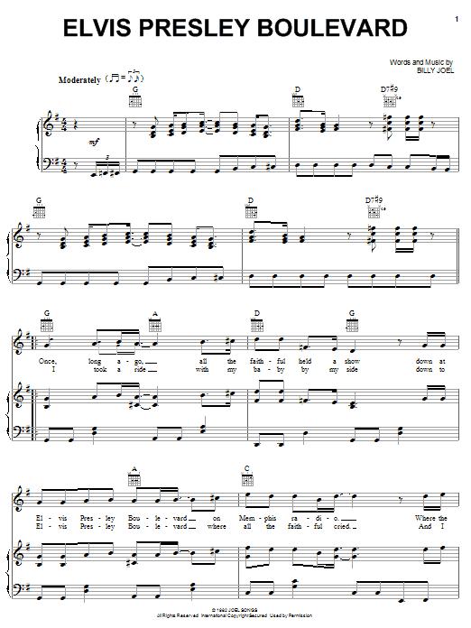 Partition piano Elvis Presley Boulevard de Billy Joel - Piano Voix Guitare (Mélodie Main Droite)