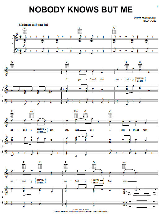 Nobody Knows But Me Sheet Music