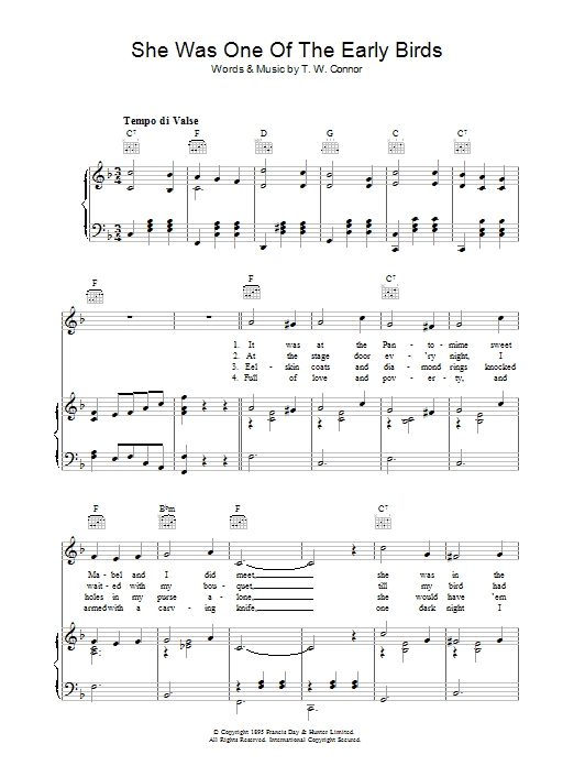 She Was One Of The Early Birds Sheet Music