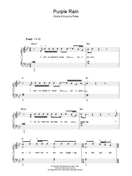 Purple Rain Sheet Music