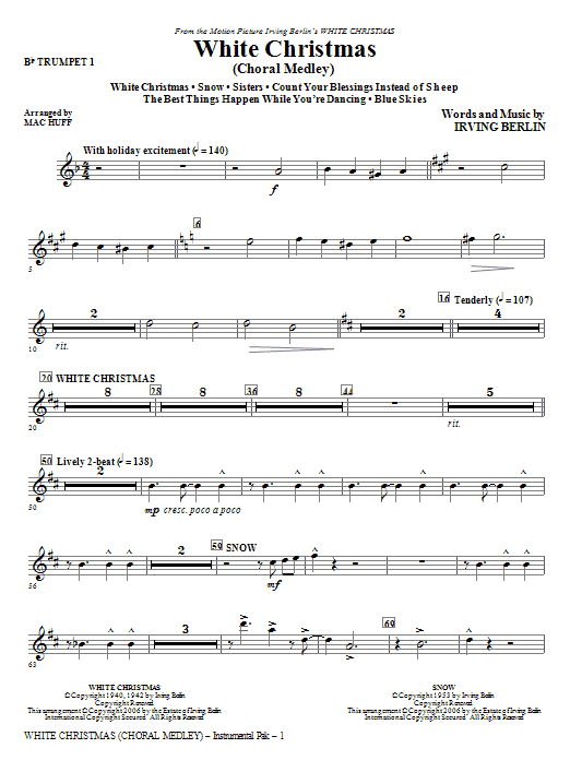 White Christmas (Choral Medley) - Bb Trumpet 1 | Sheet Music Direct