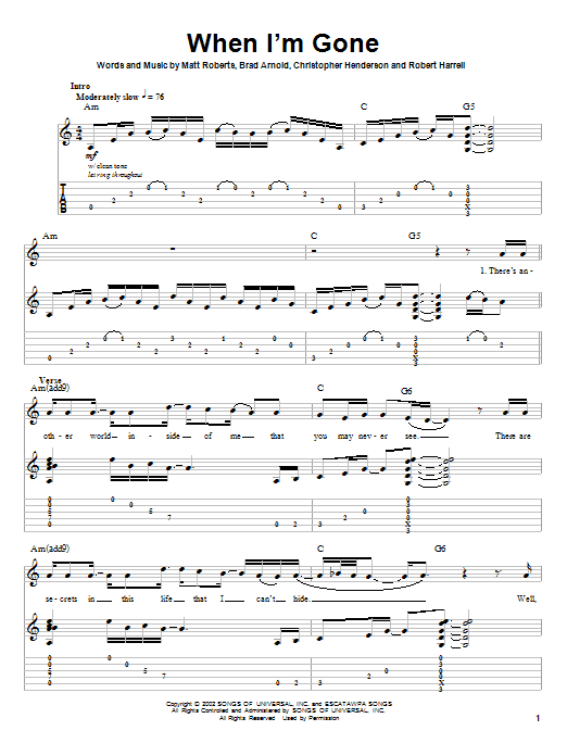 When I'm Gone Sheet Music