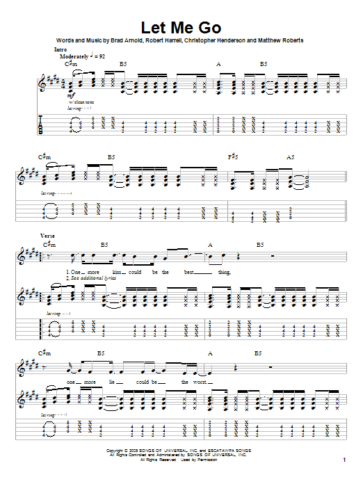 Let Me Go (Guitar Tab (Single Guitar))