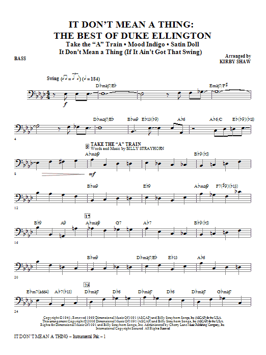 It Don't Mean A Thing: The Best Of Duke Ellington (Medley) - Bass Sheet Music