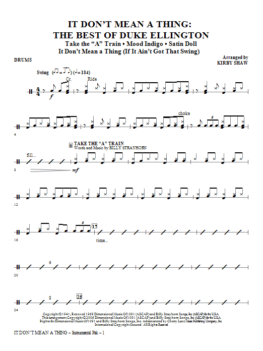 It Don't Mean A Thing: The Best Of Duke Ellington (Medley) - Drums Sheet Music