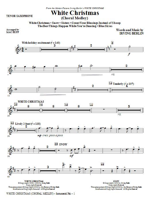 White Christmas (Choral Medley) - Tenor Sax (Choir Instrumental Pak)