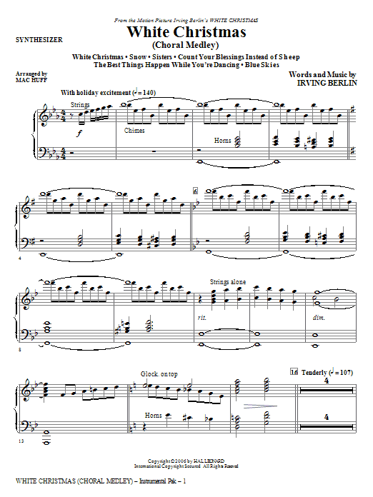 White Christmas (Choral Medley) - Synthesizer Sheet Music