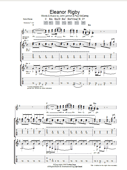 Eleanor Rigby (Guitar Tab)