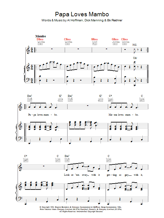 Papa Loves Mambo (Piano, Vocal & Guitar)