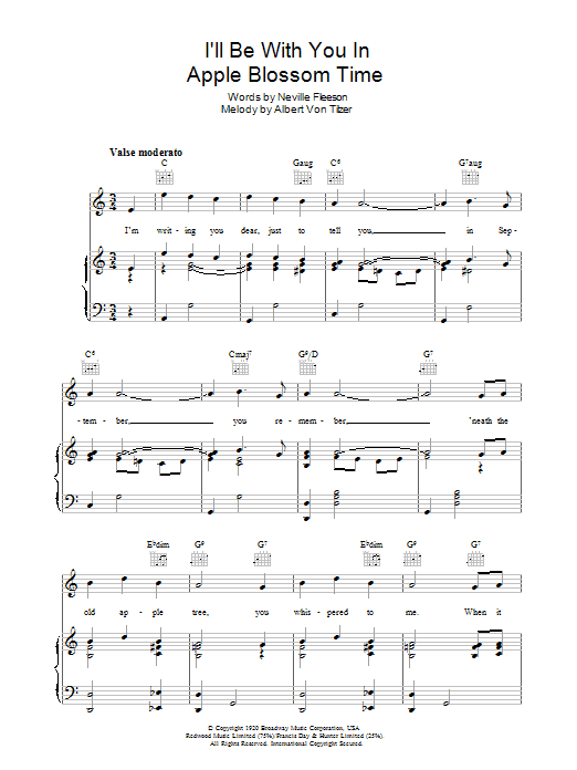 I'll Be With You In Apple Blossom Time Sheet Music