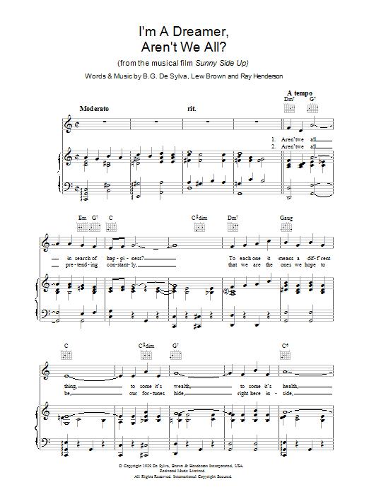 I'm A Dreamer, Aren't We All? (Piano, Vocal & Guitar)