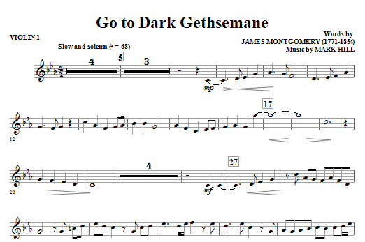 Go To Dark Gethsemane (complete set of parts) sheet music for orchestra/band (Strings) by Mark Hill and James Montgomery. Score Image Preview.