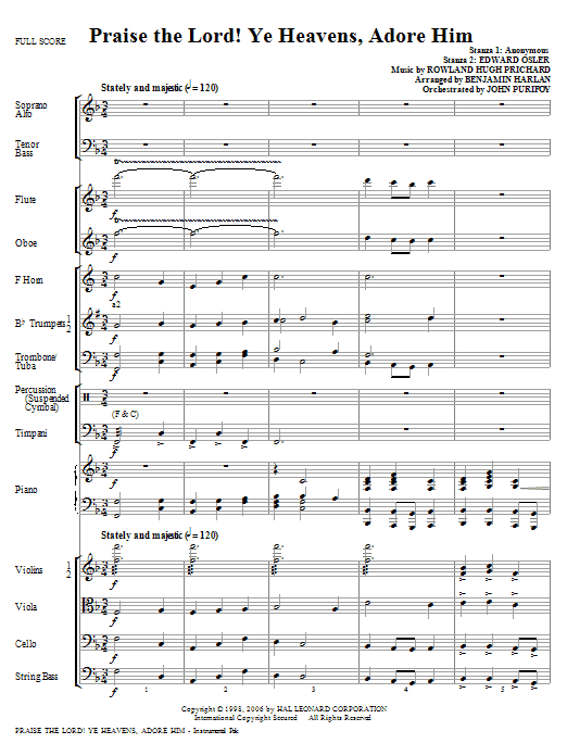 Praise The Lord! Ye Heavens, Adore Him (complete set of parts) sheet music for orchestra/band (Orchestra) by Benjamin Harlan and Rowland Prichard. Score Image Preview.