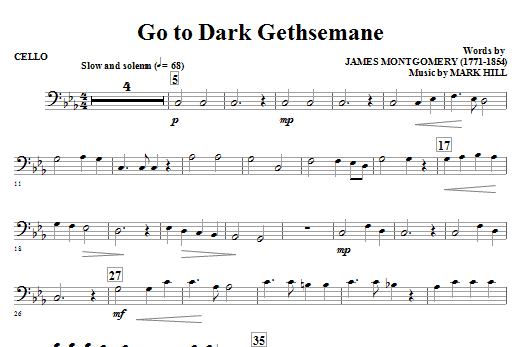 Go To Dark Gethsemane - Cello Sheet Music