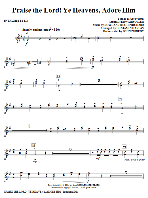 Praise The Lord! Ye Heavens, Adore Him - Bb Trumpet 1,2 Sheet Music