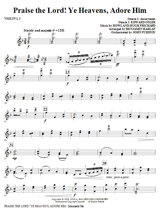 Praise The Lord! Ye Heavens, Adore Him - Violin 1, 2 (Choir Instrumental Pak)
