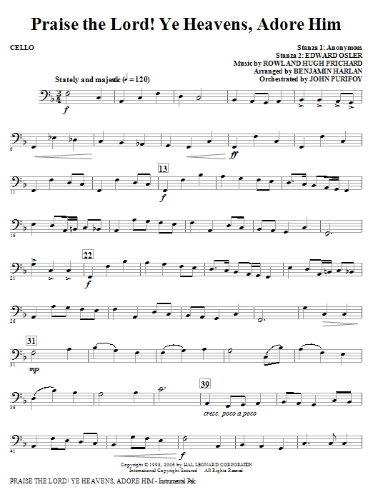 Praise The Lord! Ye Heavens, Adore Him - Cello Sheet Music