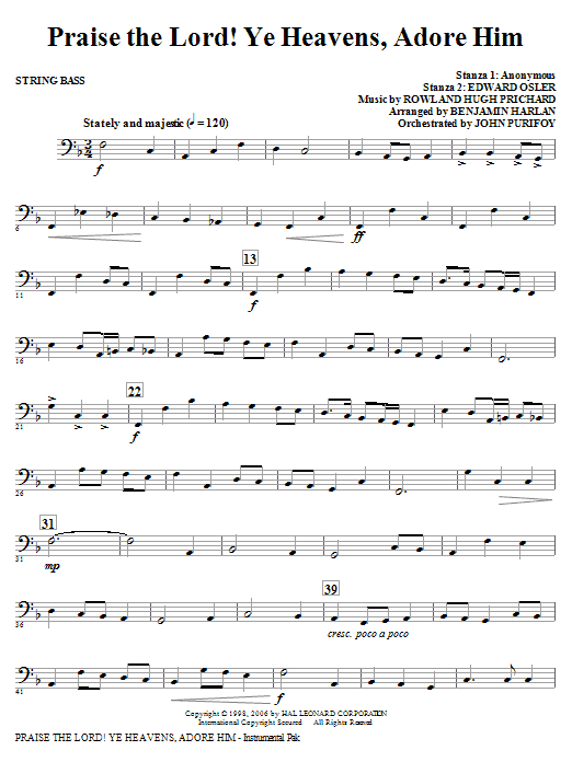 Praise The Lord! Ye Heavens, Adore Him - String Bass Sheet Music