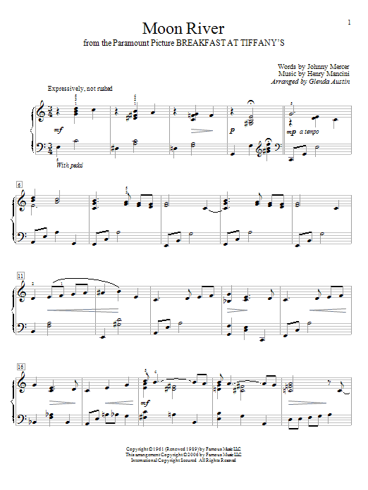 Moon River sheet music by Glenda Austin (Educational Piano – 56232)