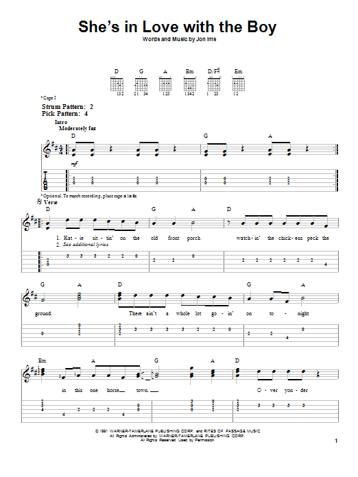 She's In Love With The Boy (Easy Guitar Tab)