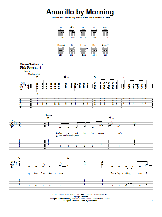 Tablature guitare Amarillo By Morning de Terry Stafford - Tablature guitare facile