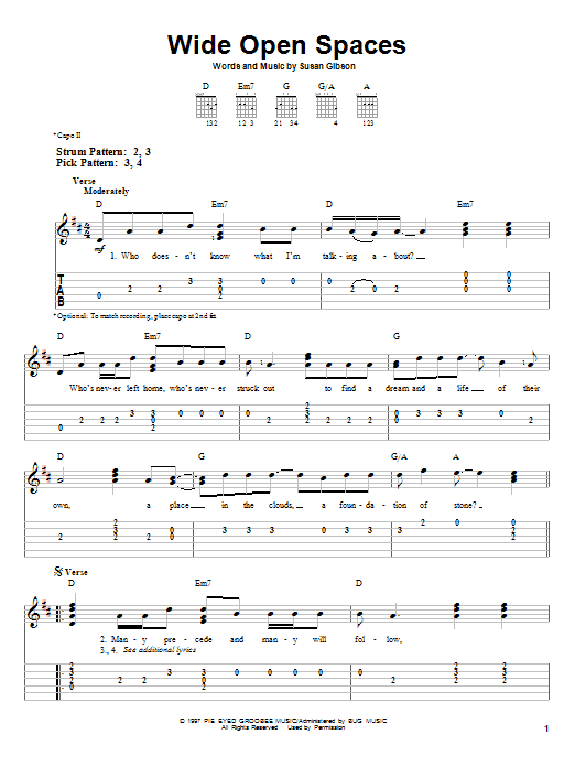 Wide Open Spaces Sheet Music