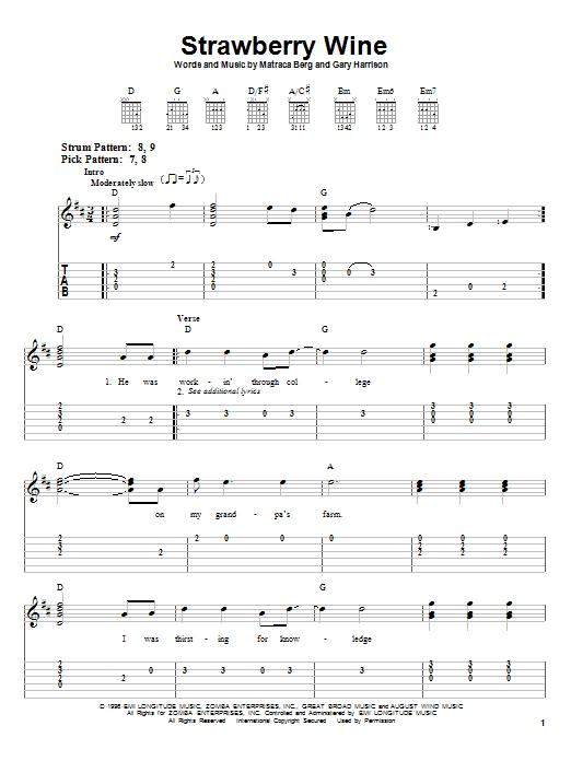 Tablature guitare Strawberry Wine de Deana Carter - Tablature guitare facile