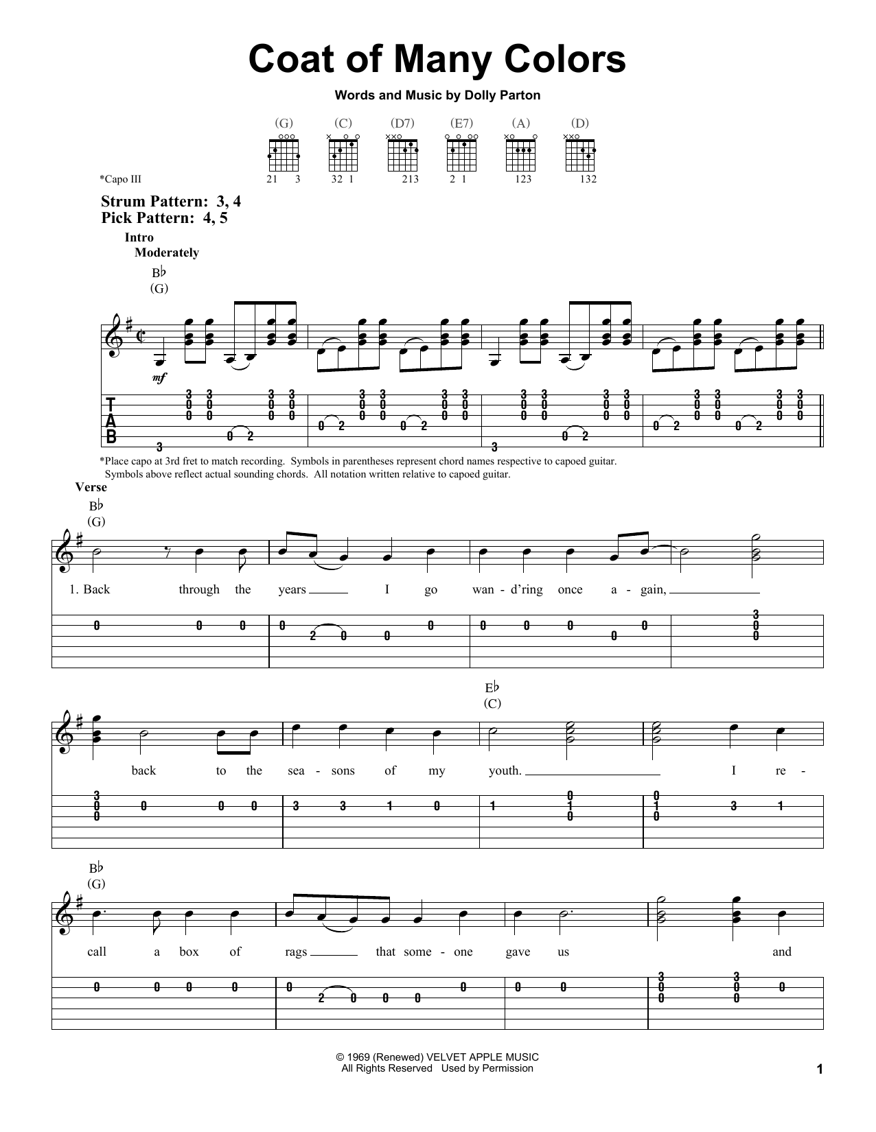 Coat Of Many Colors Sheet Music
