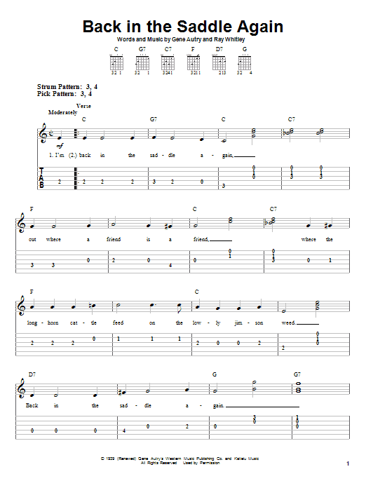 Back In The Saddle Again Sheet Music