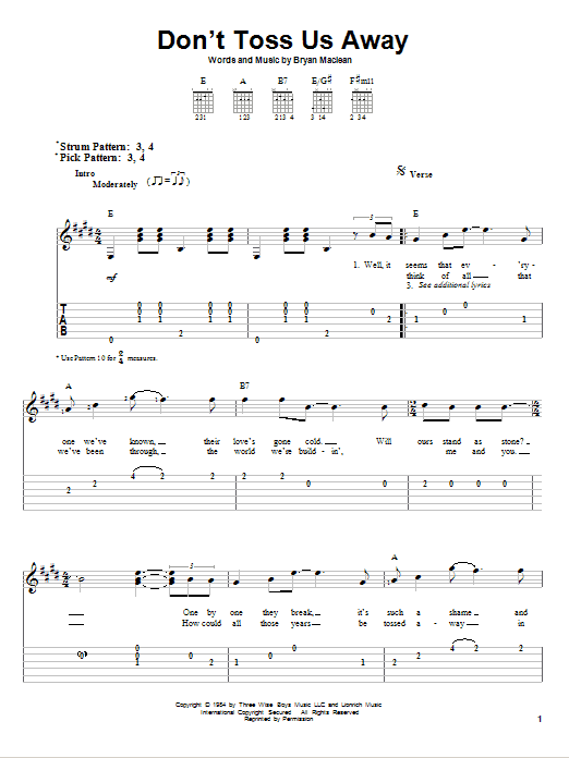 Tablature guitare Don't Toss Us Away de Patty Loveless - Tablature guitare facile