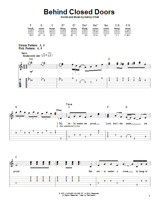 Behind Closed Doors (Easy Guitar Tab)