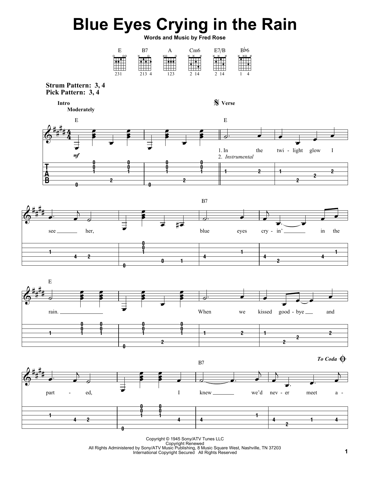 Tablature guitare Blue Eyes Crying In The Rain de Willie Nelson - Tablature guitare facile