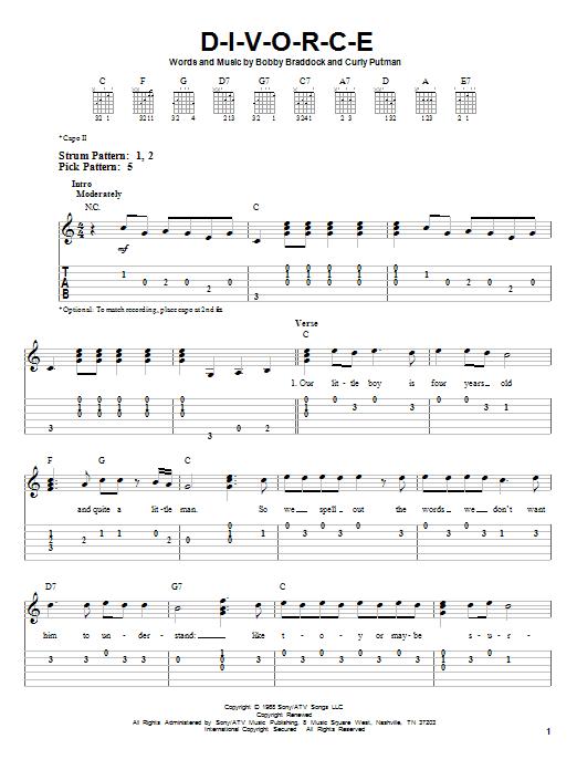 Tablature guitare D-I-V-O-R-C-E de Tammy Wynette - Tablature guitare facile