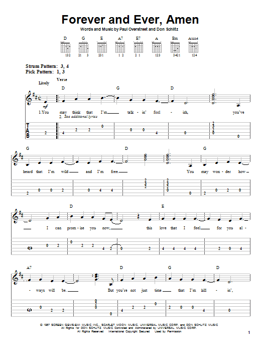 Forever And Ever, Amen by Randy Travis - Easy Guitar Tab - Guitar ...