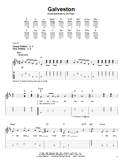 Tablature guitare Galveston de Glen Campbell - Tablature guitare facile