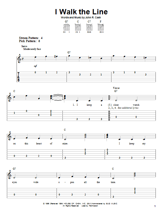 Tablature guitare I Walk The Line de Johnny Cash - Tablature guitare facile