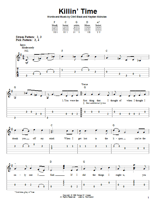 Tablature guitare Killin' Time de Clint Black - Tablature guitare facile