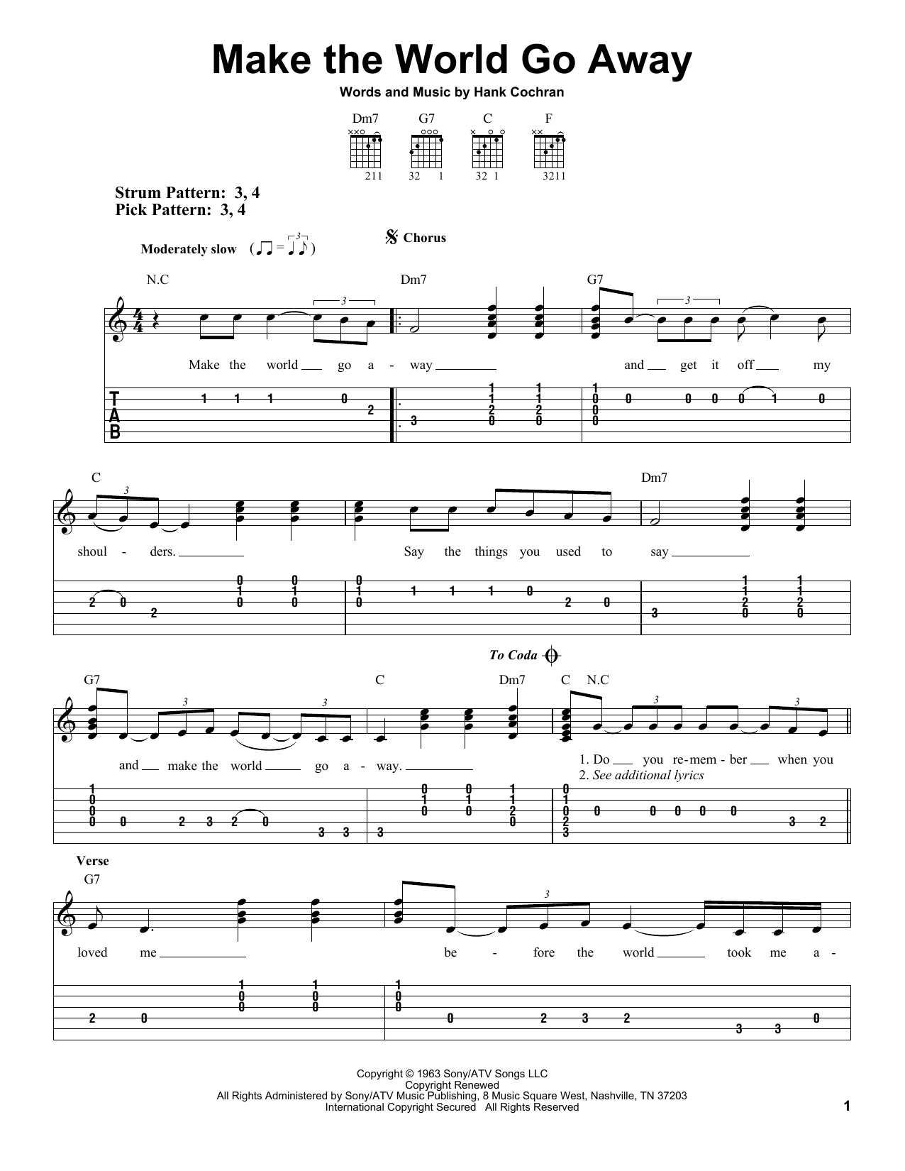 Tablature guitare Make The World Go Away de Eddy Arnold - Tablature guitare facile
