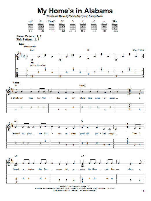 My Home's In Alabama (Easy Guitar Tab)