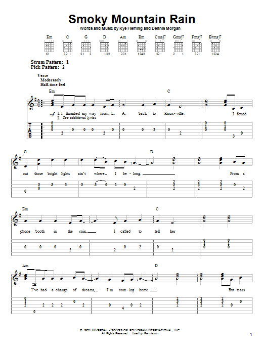 Tablature guitare Smoky Mountain Rain de Ronnie Milsap - Tablature guitare facile