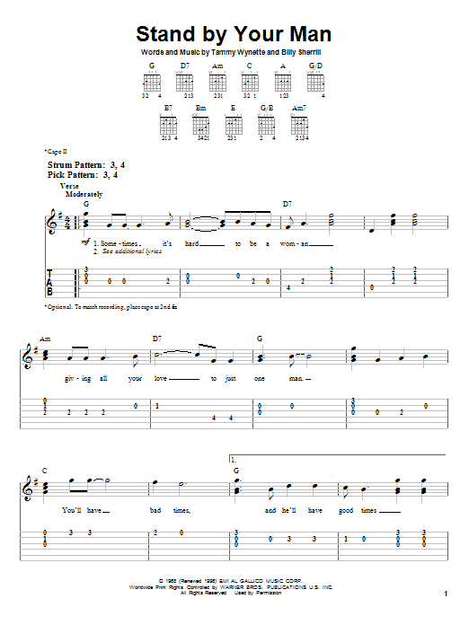 Tablature guitare Stand By Your Man de Tammy Wynette - Tablature guitare facile