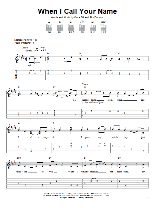 When I Call Your Name (Easy Guitar Tab)