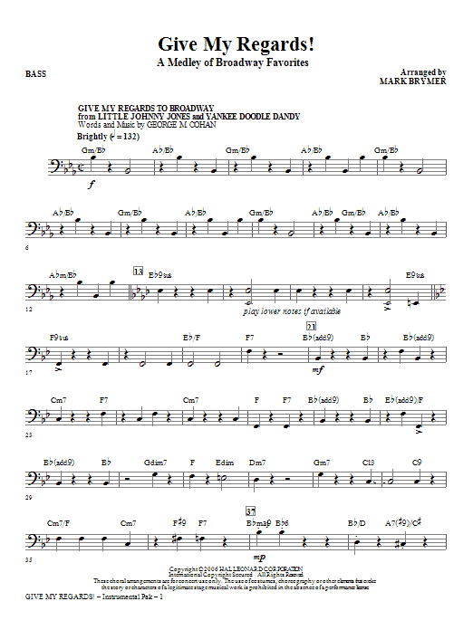 Give My Regards! A Medley Of Broadway Favorites - Bass Sheet Music