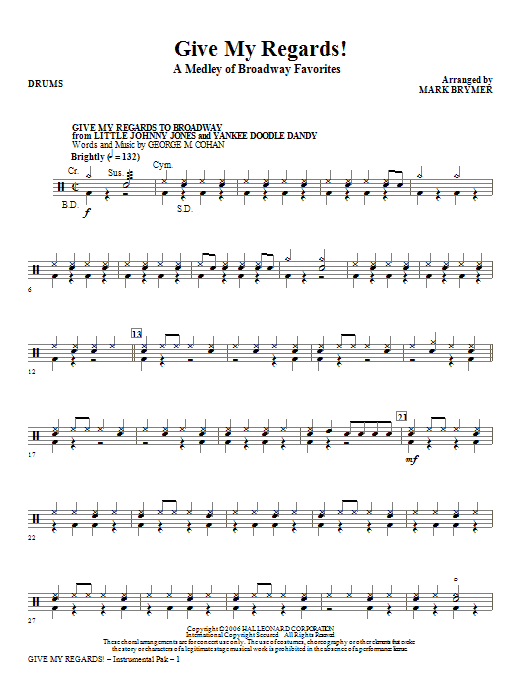 Give My Regards! A Medley Of Broadway Favorites - Drums (Choir Instrumental Pak)