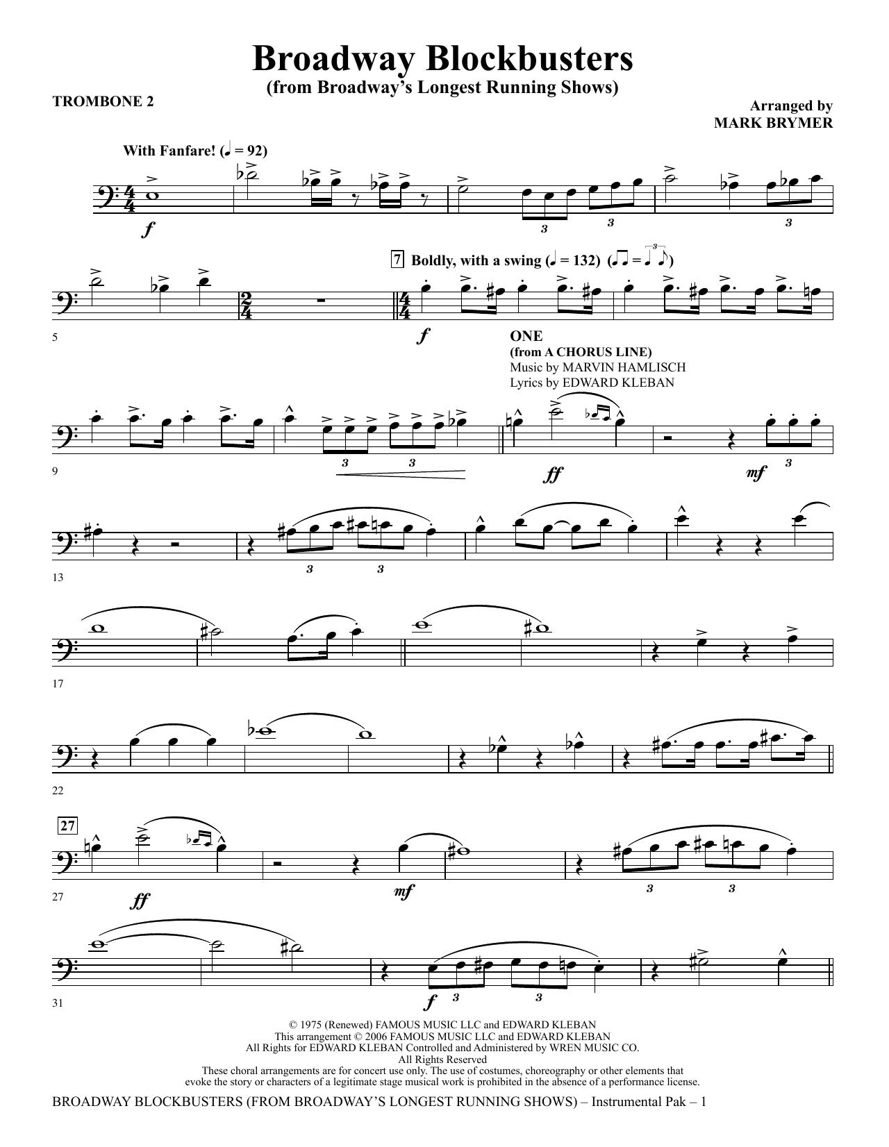 Broadway Blockbusters - Trombone 2 Sheet Music