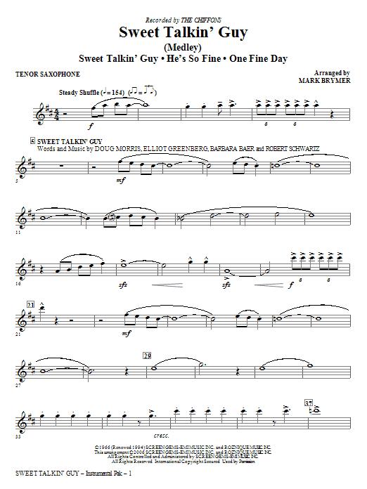 Sweet Talkin' Guy - Music Of The Chiffons (Medley) - Tenor Sax Sheet Music