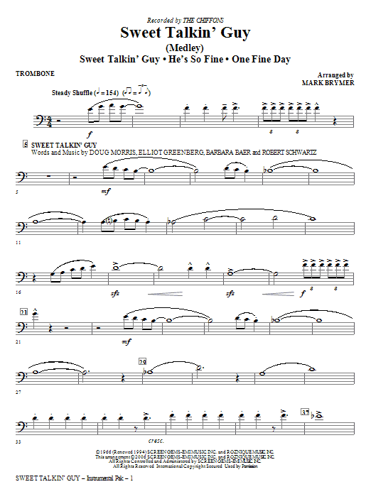 Sweet Talkin' Guy - Music Of The Chiffons (Medley) - Trombone Sheet Music