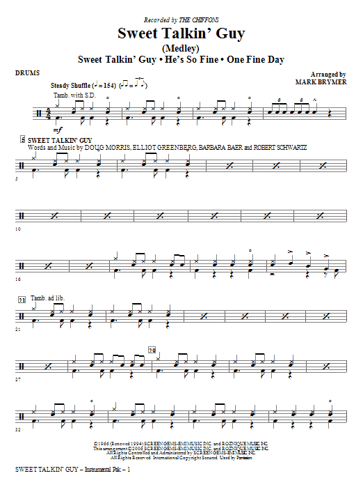 Sweet Talkin' Guy - Music Of The Chiffons (Medley) - Drums Sheet Music