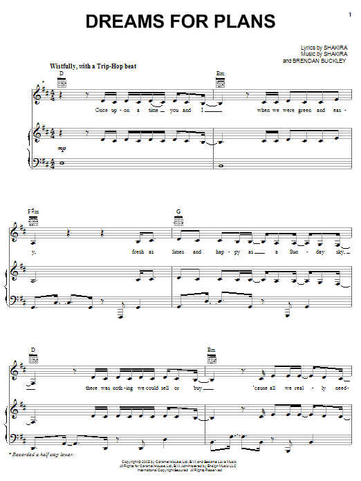 Dreams For Plans Sheet Music